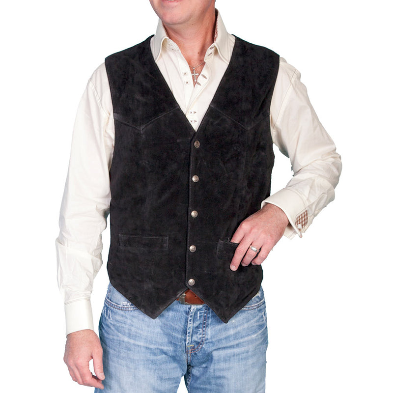 Scully Men's Leather Western Lambskin Snap Front Vest Black - 507-214