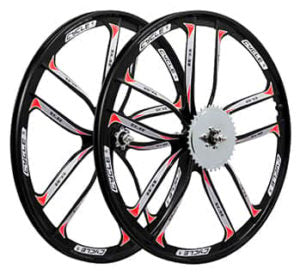 This is a BBR Tuning 26 Inch Heavy Duty 10 Spoke STAR Motorized Bike Mag Wheel Set in black.