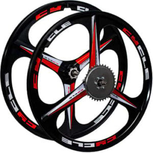 This is a BBR Tuning 26 Inch Heavy Duty 3 Spoke Motorized Bike Mag Wheel Set in black.
