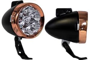 This is a BBR Tuning Vintage LED Bullet Headlight - Black/Copper.