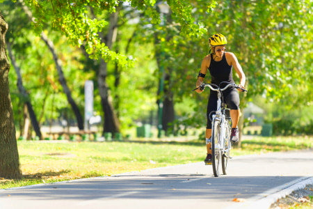 Exercising on an electric bike.