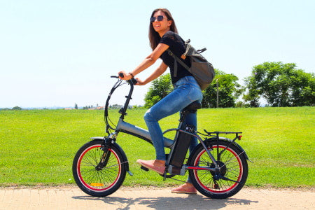 Riding an electric bike at the park.