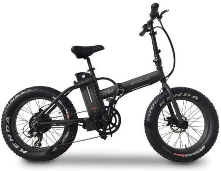 This is a picture of the E-Mojo 500W Lynx Fat Tire Folding Electric Bike.
