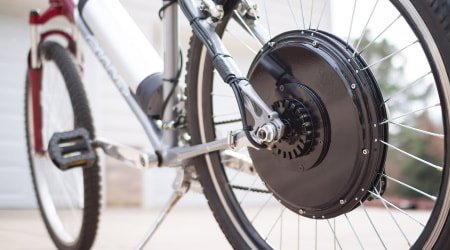 Electric bike kit installed on bicycle.