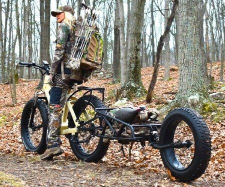 Electric hunting bike with cargo trailer.