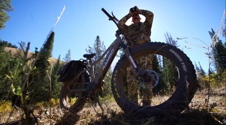 Electric hunting bike being used on hunting grounds.