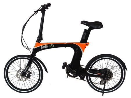 This is a picture of the Green Bike 350W GB Carbon Light Folding E-Bike.