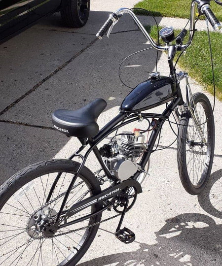 Motorized bike with high performance cylinder head.