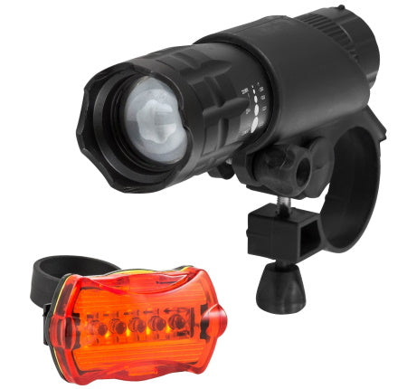 Super Lumen Bicycle LED Headlight and Taillight Combo for motorized bike.