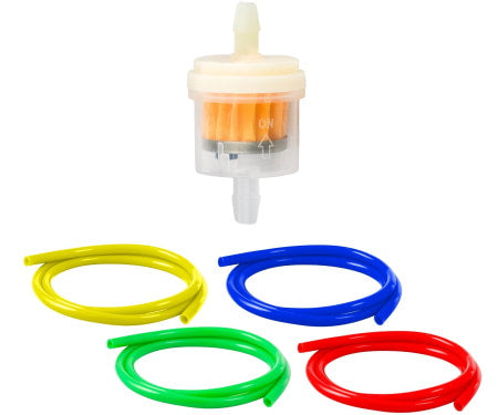 Magnetic inline fuel filter with fuel line for motorized bikes.