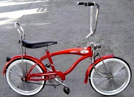 Red, retro-styled Micargi Lowrider F4 bicycle.