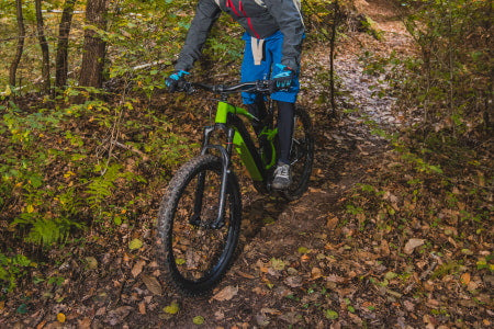 Off-roading with an electric mountain bike.