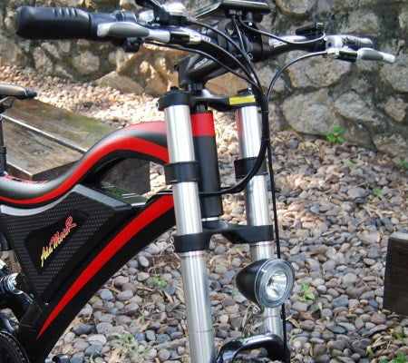 High suspension fork an electric mountain bike.