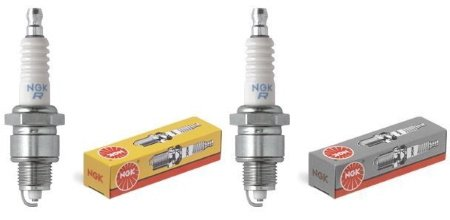 NGK B5HS and NGK B6HS 2-stroke spark plugs.