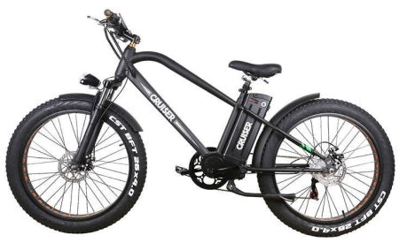 Black Nakto 500W Super Cruise Fat Tire Electric Bike for commuting, uphill riding, and off-roading.