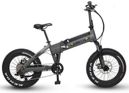 This is a picture of the QuietKat 750 Bandit Folding Electric Bike.