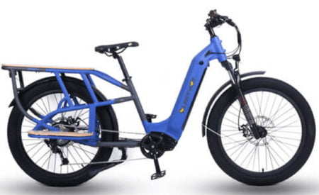 Blue Quietkat 750W 2021 Sherpa Cargo Electric Bike for commuting, off-roading, and carrying heavy cargo loads.