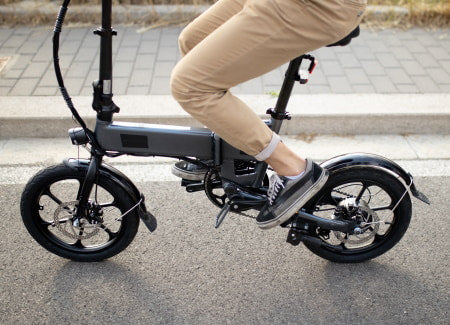Electric bike with small 20-inch tires.