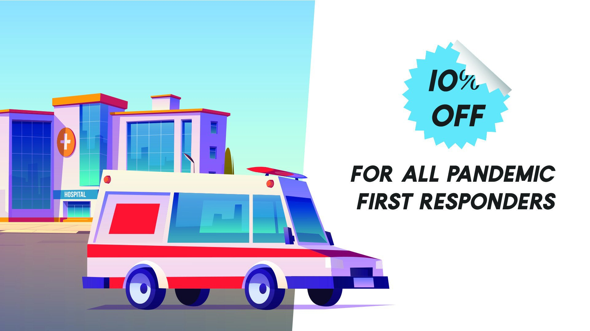 Front of a hospital with an ambulance illustration