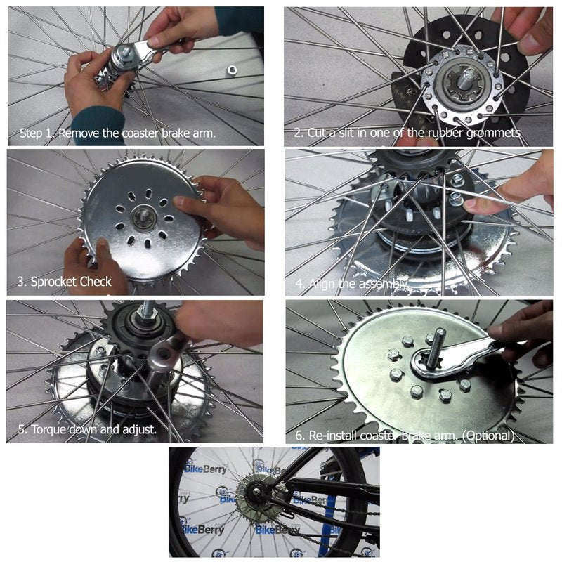 Instructional images of how to change a wheel.