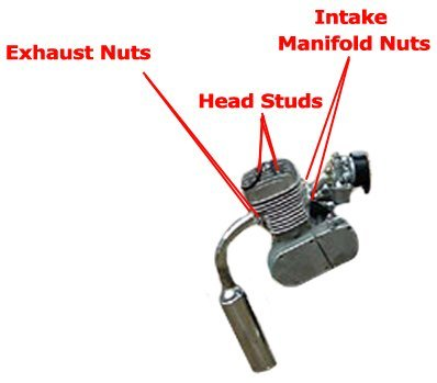 Various parts of a 2-stroke engine