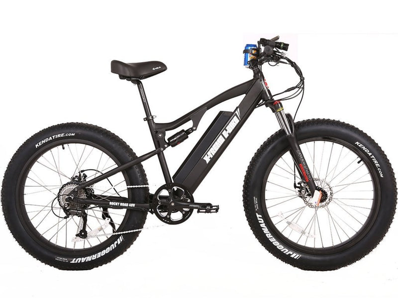 X-Treme 500W Rocky Road Fat Tire Mountain black side of bicycle
