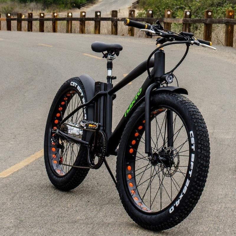 Nakto 300W Cruise Fat Tire Black - black bicycle parked on road