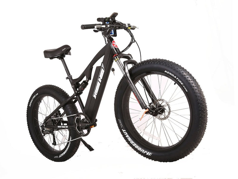 X-Treme 500W Rocky Road Fat Tire Mountain black bicycle front