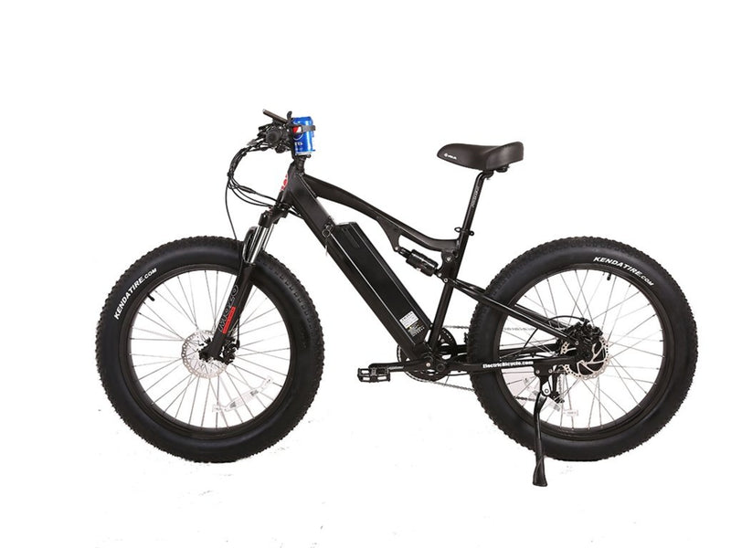 X-Treme 500W Rocky Road Fat Tire Mountain black bicycle side