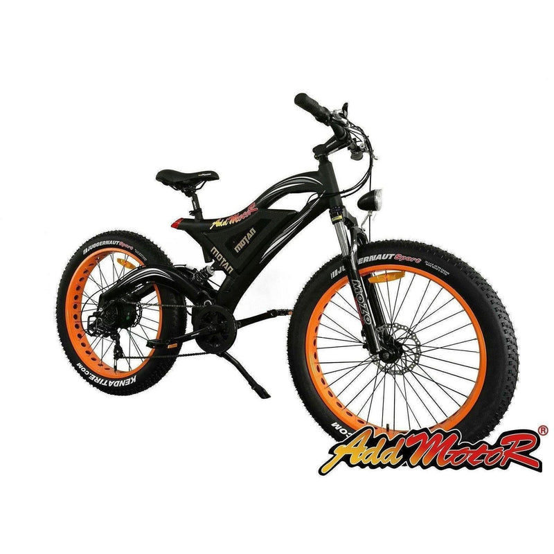 AddMotor 500W Motan M-850 Fat Tire orange rim bicycle side