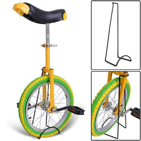 Gorilla 16 Inch Wheel Unicycle - lemon with stand