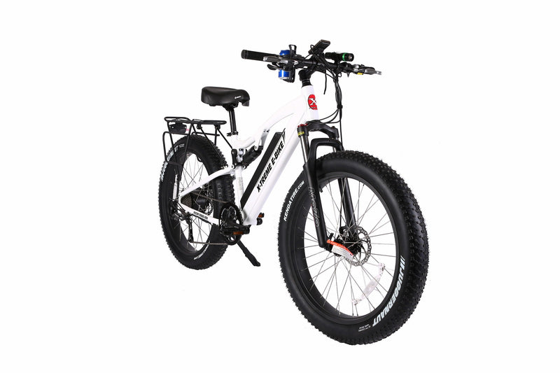 X-Treme 500W Rocky Road Fat Tire Mountain white bicycle front