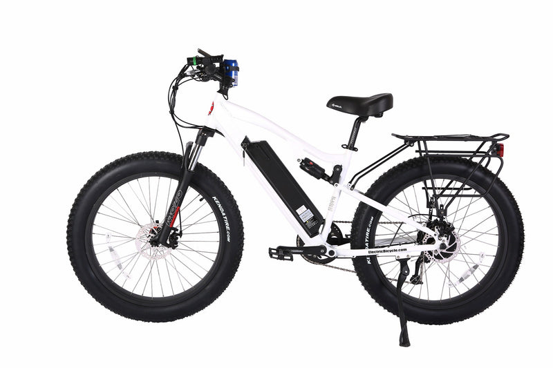 X-Treme 500W Rocky Road Fat Tire Mountain white bicycle side