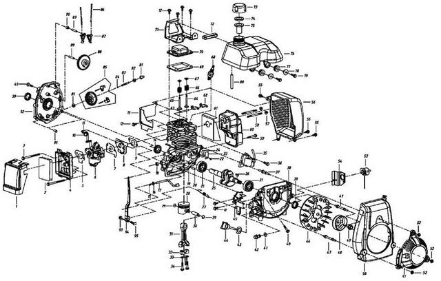 4-Stroke Pull Start Assembly - engine diagram