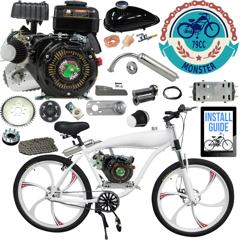 Chain Drive 79cc 4-Stroke Motorized Bicycle 26 Inch BBR Motor-Ready W/ 2.4L In-Frame Gas Tank - bike with engine kit