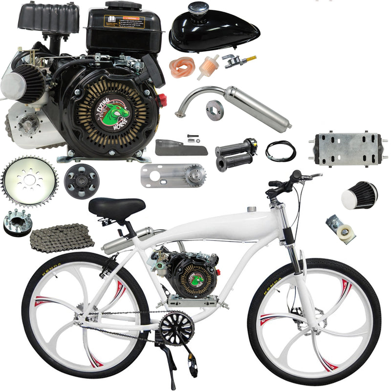 Chain Drive 79cc 4-Stroke Motorized Bicycle 26 Inch BBR Motor-Ready W/ 2.4L In-Frame Gas Tank - bike with engine kit installed