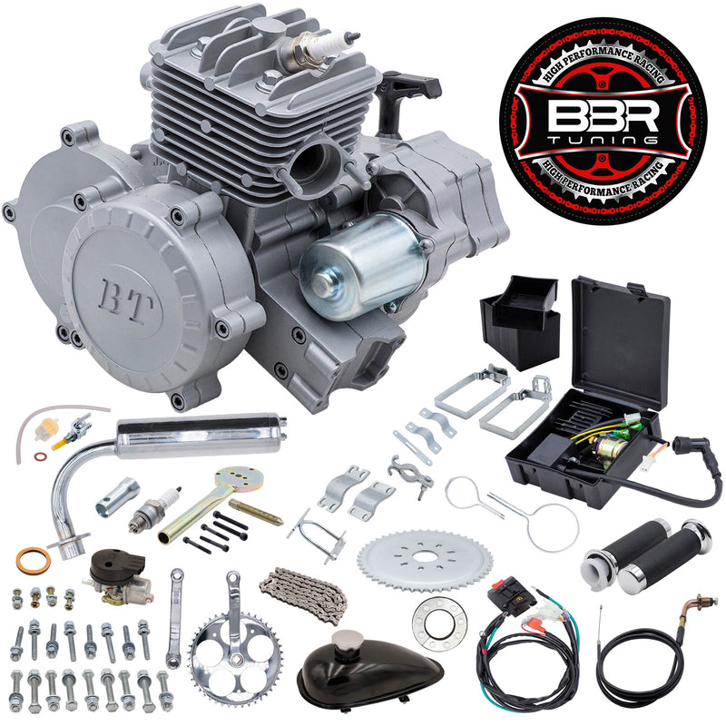 66/80cc BBR Tuning Bullet Train Electric Start Engine Kit - Silver - engine kit with parts