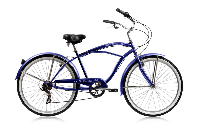 26'' Micargi Mens Pantera 7SP - blue - side of bicycle