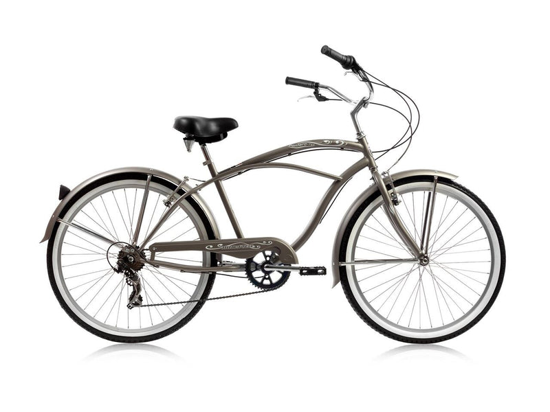 26'' Micargi Mens Pantera 7SP - grey - side of bicycle