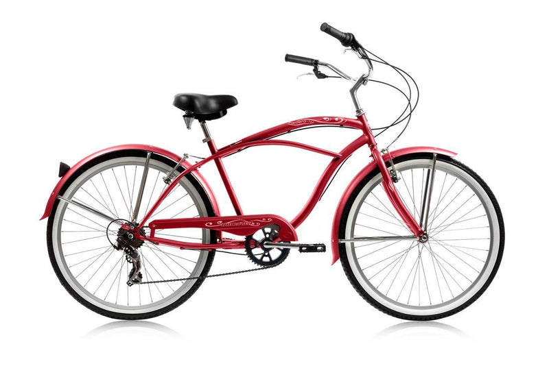 26'' Micargi Mens Pantera 7SP - red - side of bicycle
