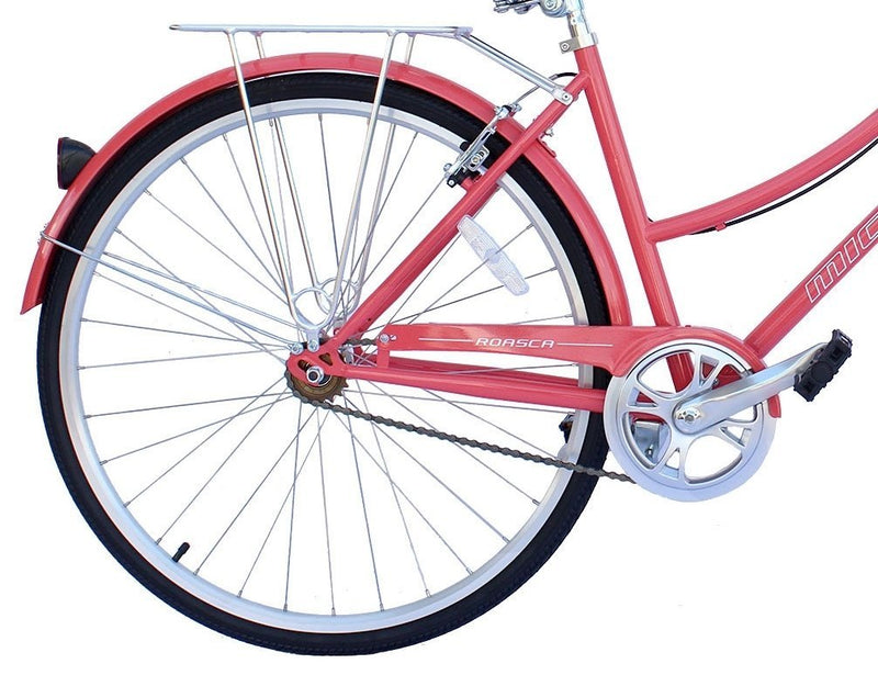 "26"" Micargi Women's Roasca City Bike - coral - rear wheel"
