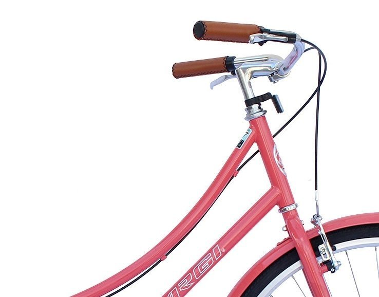 "26"" Micargi Women's Roasca City Bike - coral - handlebar"