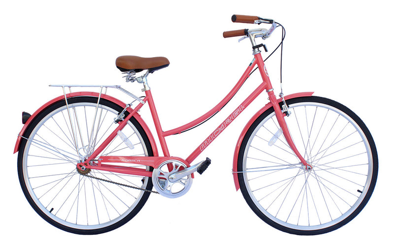 "26"" Micargi Women's Roasca City Bike - coral - side of bicycle"
