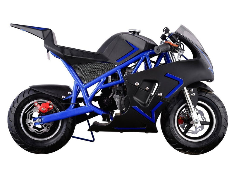 40cc 4 Stroke Gas Powered Mini Superbike - blue side