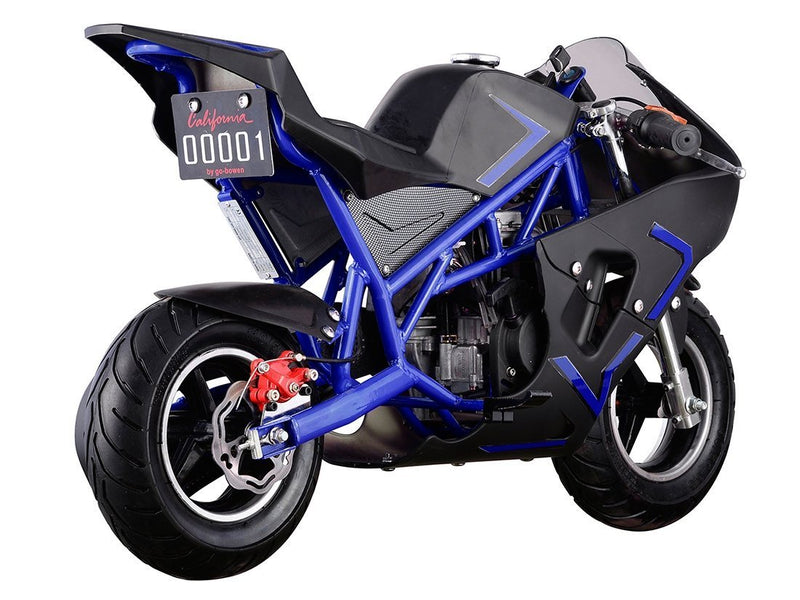 40cc 4 Stroke Gas Powered Mini Superbike - blue rear