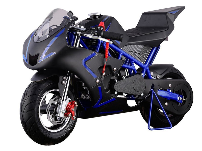 40cc 4 Stroke Gas Powered Mini Superbike - blue front