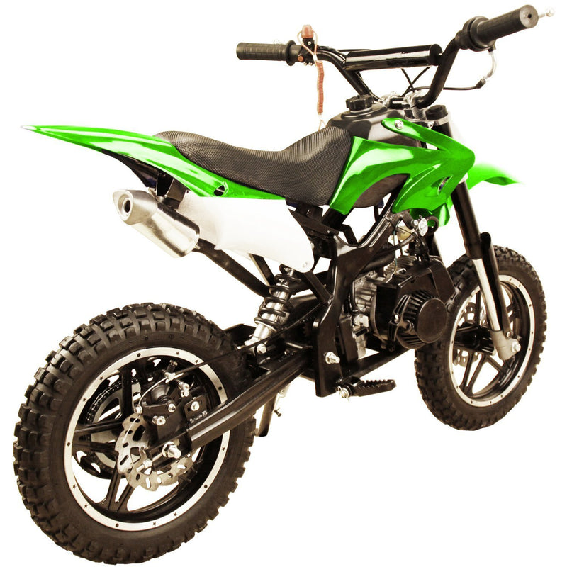49cc 50cc High Performance 2-Stroke Gas Motorized Mini Dirt Pit Bike - green rear