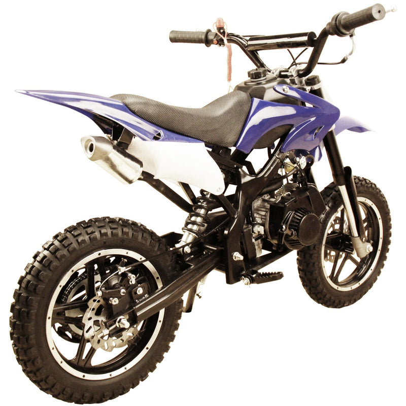 49cc 50cc High Performance 2-Stroke Gas Motorized Mini Dirt Pit Bike - blue rear
