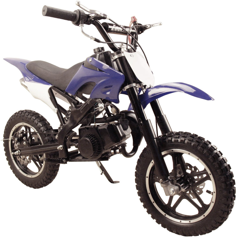 49cc 50cc High Performance 2-Stroke Gas Motorized Mini Dirt Pit Bike - blue front