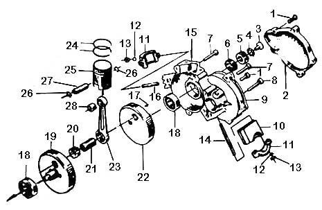 PISTON RETAINING CLIPS - crank diagram